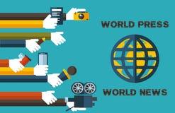 Wereld pers-wereld nieuws Royalty-vrije Stock Foto