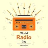 Wereld Radiodag, 13 Februari royalty-vrije illustratie