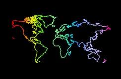 Wereld in regenboogkleuren op zwarte achtergrond Stock Afbeeldingen