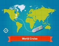 Wereld toeristische cruise met kaartachtergrond vector illustratie