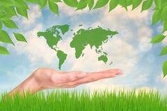Wereld in uw handen Stock Foto