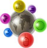 Wereld van mededeling stock illustratie