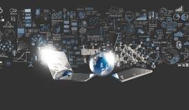Wereld van media netwerk 3d en hand getrokken zaken Stock Afbeeldingen