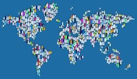 Wereld van plastiek - kaart van plastic flessen wordt gemaakt die Stock Foto