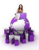 Wereld winkelende koningin Stock Fotografie