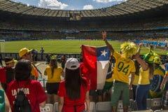 Wereldbeker Brazilië 2014 - Chili van Brazilië 1 X 1 Stock Foto