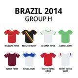 Wereldbeker Brazilië 2014 - de voetbal van groepsf teams jerseys Royalty-vrije Stock Foto