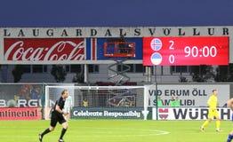 Wereldbeker 2018 die kwalificeren: IJsland v de Oekraïne in Reykjavik Stock Foto's