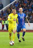 Wereldbeker 2018 die kwalificeren: IJsland v de Oekraïne in Reykjavik Royalty-vrije Stock Fotografie