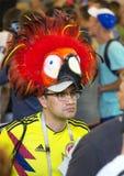 Wereldbeker 2018 Moskou FIFA 2018 Emoties van voetbalventilators op de straten van Moskou Een mens die hoed dragen die als papega stock afbeelding