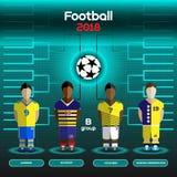 Wereldbeker Team Scoreboard De Oekraïne, Ecuador, Colombia en Bosnië Royalty-vrije Stock Foto's