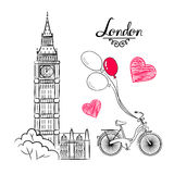 Wereldberoemde het oriëntatiepuntinzameling van de handschets: Groot Ben London, Engeland, fiets, ballons Stock Afbeeldingen