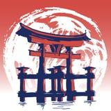Wereldberoemde Landmarck-Reeks: Japan, de Poort van Itsukushima Torii Hand getrokken vectorillustratie Stock Foto's