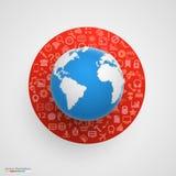 Wereldbol met app pictogrammen stock illustratie