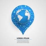 Wereldbol met app pictogrammen sircle vector illustratie