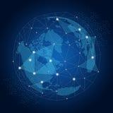 Wereldbol met concept van netwerk het globale verbindingen Royalty-vrije Stock Foto's