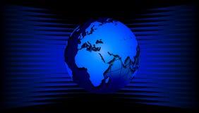 Wereldbol op blauwe golven Een wereldbol op blauwe golvende achtergrond stock illustratie