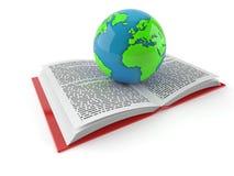 Wereldbol op open boek royalty-vrije illustratie