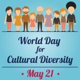 Werelddag voor Culturele Diversiteit, 21 Mei stock illustratie
