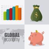 wereldeconomie, geld en zaken Stock Afbeelding