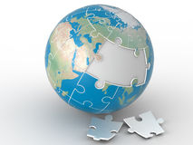 Wereldfiguurzaag, wereldraadsel op witte achtergrond Royalty-vrije Stock Foto
