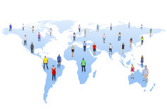Wereldgemeenschap met Wereldkaart Stock Afbeeldingen
