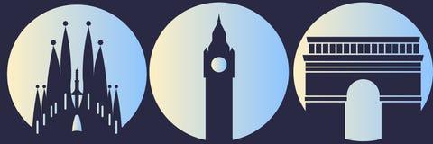 Wereldgezichten Big Ben, Arco Di Tito, Sagrada Familia Royalty-vrije Stock Foto