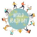 Wereldgezondheid Dag 7 april met het beeld van artsen Vector graphhics Actieve Jonge Mensen Gezonde Levensstijl stock illustratie