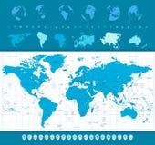 Wereldkaart, Bollen en Navigatiepictogrammen Stock Afbeelding