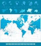 Wereldkaart, Bollen en Navigatiepictogrammen Amerika in centrum Royalty-vrije Stock Fotografie