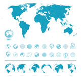 Wereldkaart, Bollenpictogrammen en Symbolen - Illustratie Royalty-vrije Stock Foto