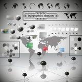 Wereldkaart, differenticons en Informatie Stock Foto's