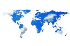 Wereldkaart en bewolkte hemel Royalty-vrije Stock Afbeelding