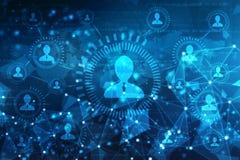 Wereldkaart en blockchain edele om netwerk, Globaal Netwerkconcept te turen royalty-vrije stock afbeelding