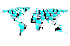 Wereldkaart en computers Stock Afbeelding