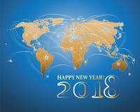 Wereldkaart en het inschrijvings 2018 Gelukkige Nieuwjaar! Royalty-vrije Stock Foto