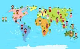 Wereldkaart en jonge geitjes van diverse nationaliteiten royalty-vrije illustratie