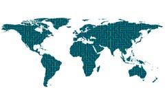 Wereldkaart en labyrint Stock Afbeelding