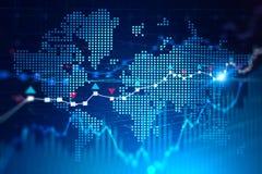 Wereldkaart en mondiaal digitaal net voor handel stock illustratie