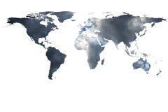 Wereldkaart en rook Stock Afbeelding