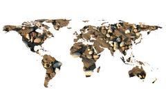 Wereldkaart en stenen Royalty-vrije Stock Afbeelding
