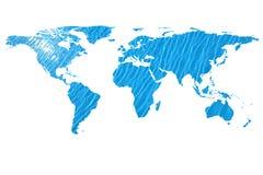 Wereldkaart en water Royalty-vrije Stock Afbeeldingen
