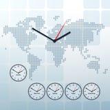 Wereldkaart en wereld-tijd vector Stock Afbeelding