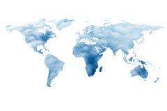 Wereldkaart en wolken Royalty-vrije Stock Foto