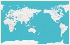 Wereldkaart Gecentreerde de Stille Oceaan Oude kleuren, grenzen, landen en steden royalty-vrije stock afbeelding