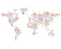 Wereldkaart met bedrijfswoorden stock illustratie