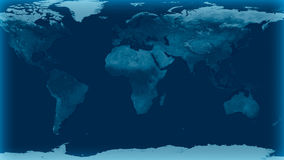 Wereldkaart met Blauwe gloedkleur Royalty-vrije Stock Foto's