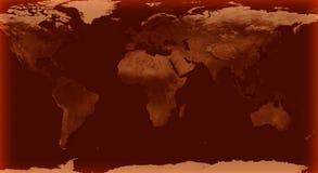 Wereldkaart met Bruine gloedkleur Stock Afbeeldingen