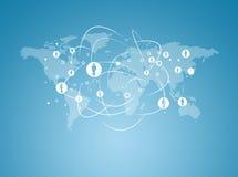 Wereldkaart met contacten Stock Afbeelding