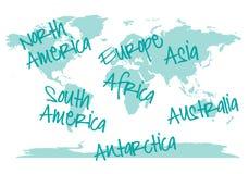 Wereldkaart met continenten, vector Stock Fotografie